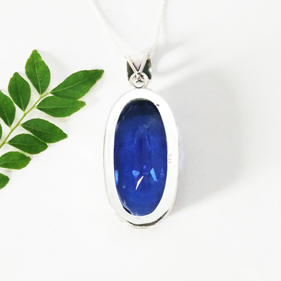 Gorgeous BLUE IOLITE Gemstone Pendant, Birthstone Pendant, Artisan Handmade Pendant, Fashion Pendant, 925 Sterling Silver Pendant, Free Chain, Gift Pendant