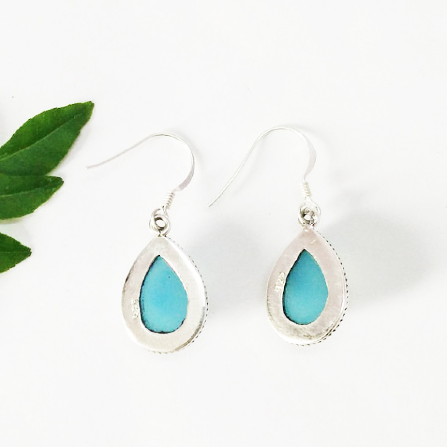 Gorgeous NATURAL BLUE CHALCEDONY Gemstone Earrings, Birthstone Earrings, 925 Sterling Silver Earrings, Fashion Handmade Earrings, Dangle Earrings, Gift Earrings