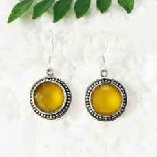 Beautiful YELLOW ONYX Gemstone Earrings, Birthstone Earrings, 925 Sterling Silver Earrings, Fashion Handmade Earrings, Dangle Earrings, Gift Earrings