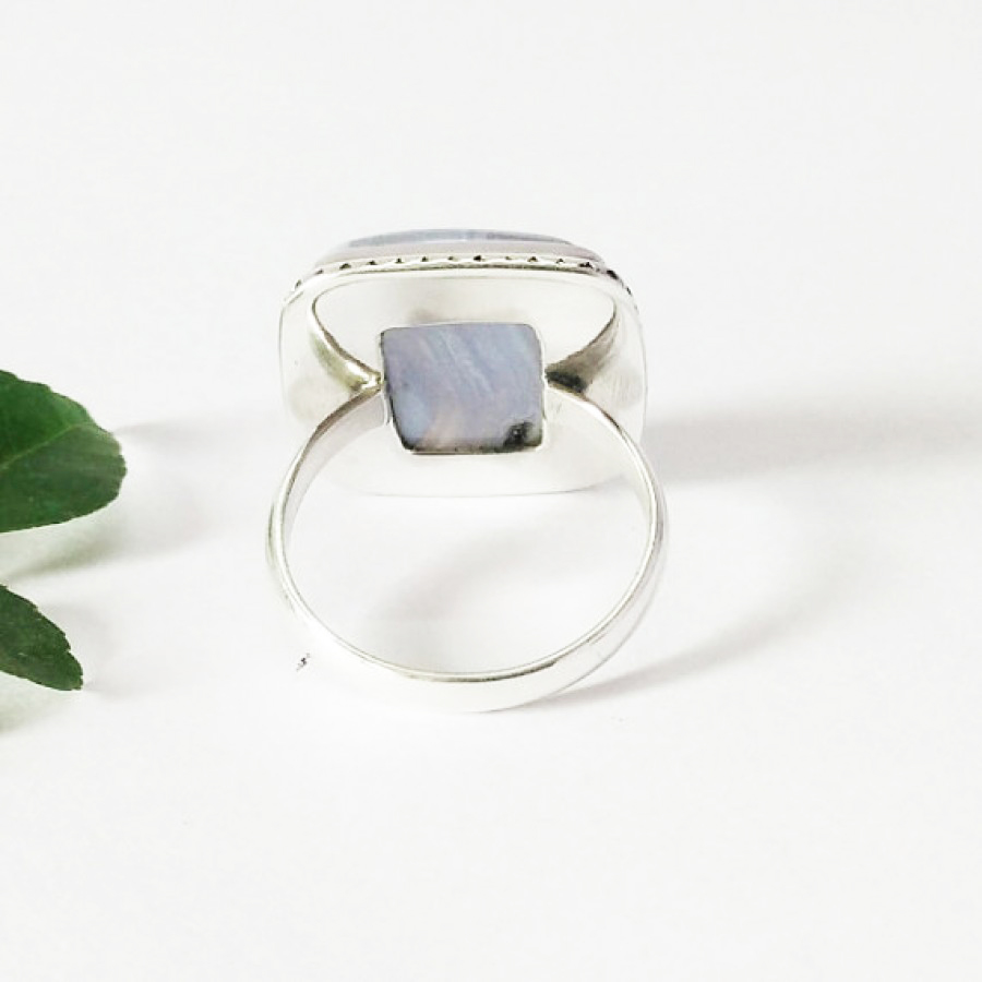 Beautiful NATURAL BLUE LACE AGATE Gemstone Ring, Birthstone Ring, 925 Sterling Silver Ring, Fashion Handmade Ring, All Ring Size, Gift Ring