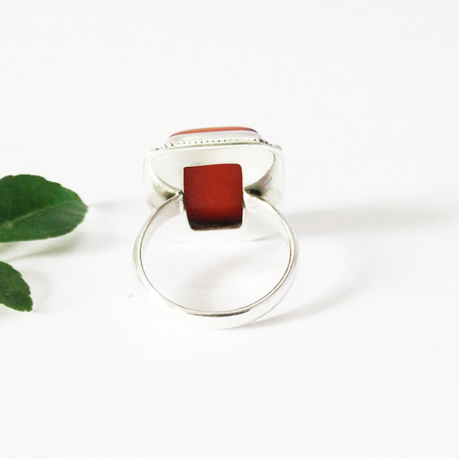 Gorgeous RED CORAL Gemstone Ring, Birthstone Ring, 925 Sterling Silver Ring, Artisan Handmade Ring, Fashion Ring, All Ring Size, Gift Ring