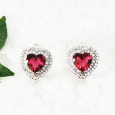 Exclusive HEART RUBY Gemstone Earrings, Birthstone Earrings, 925 Sterling Silver Earrings, Fashion Earrings, Love Gift, Russian Lock