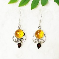 Gorgeous AMBER / RED GARNET Gemstone Earrings, Birthstone Earrings, 925 Sterling Silver Earrings, Fashion Handmade Earrings, Dangle Earrings, Gift Earrings