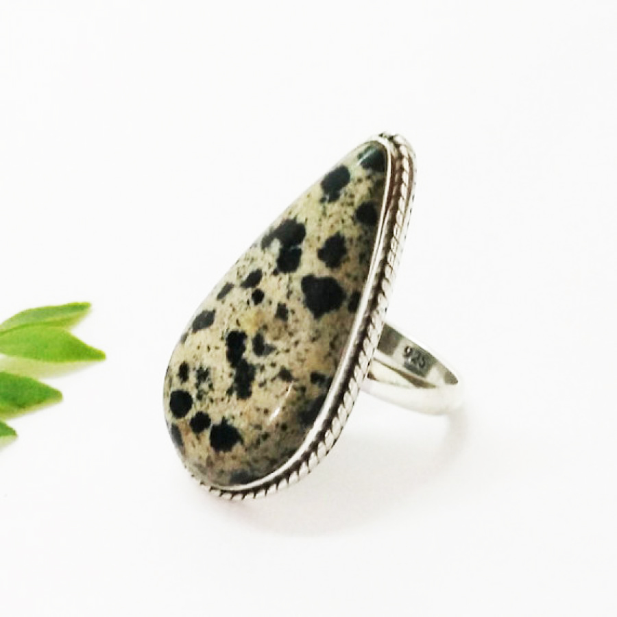 Beautiful NATURAL DALMATIAN Gemstone Ring, Birthstone Ring, 925 Sterling Silver Ring, Fashion Handmade Ring, All Ring Size, Gift Ring