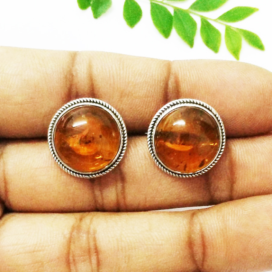Beautiful BALTIC AMBER Gemstone Earrings, Birthstone Earrings, 925 Sterling Silver Earrings, Fashion Handmade Earrings, Stud Earrings, Gift Earrings