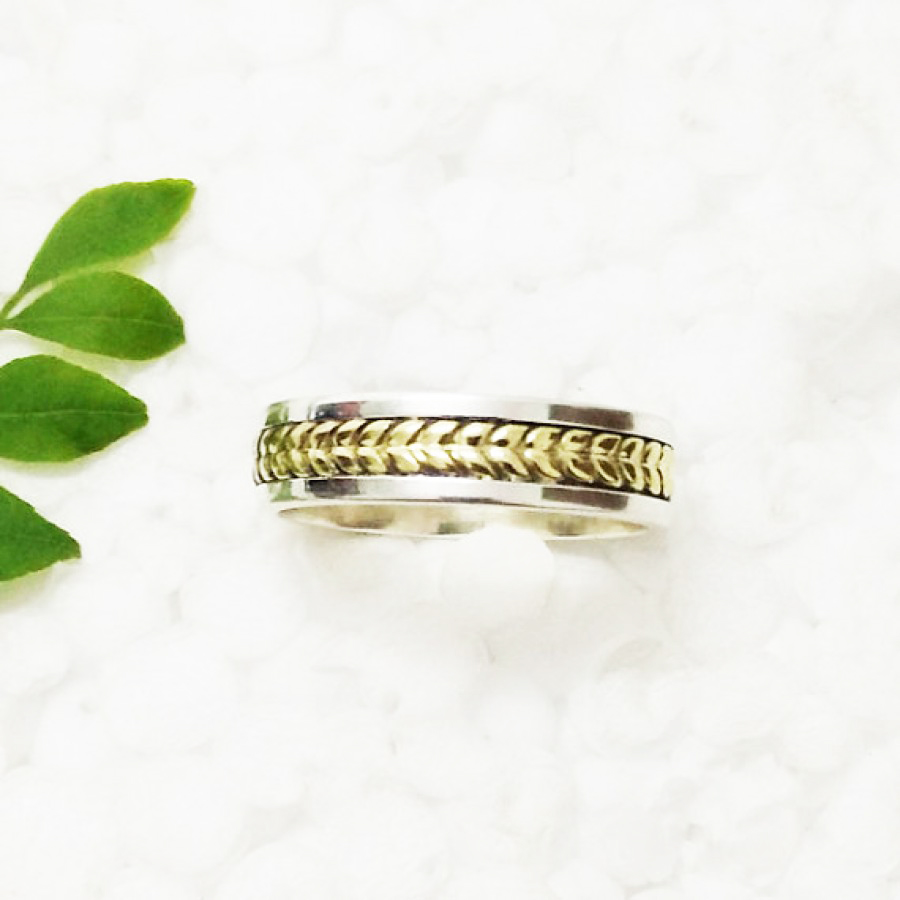 Amazing TWO TONE Designer Ring, 925 Sterling Silver Ring, Fashion Ring, Artisan Handmade Ring,, All Ring Size, Gift Ring, Spinner Ring