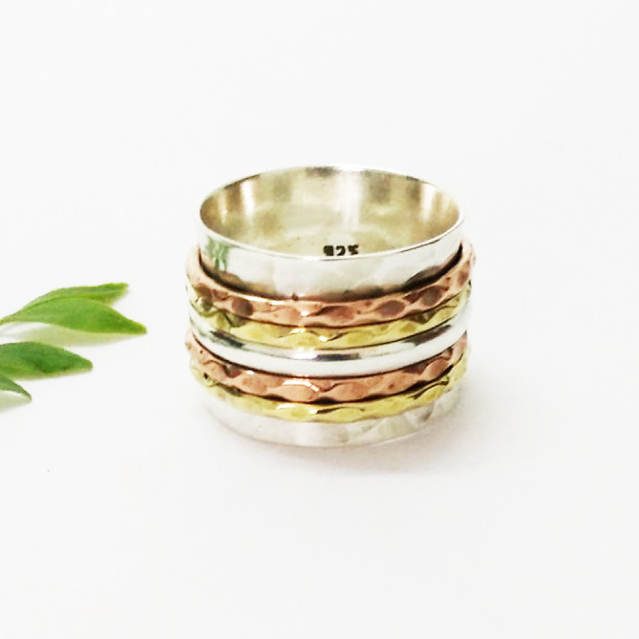 Exclusive THREE TONE Designer Ring, 925 Sterling Silver Ring, Fashion Ring, Artisan Handmade Ring, All Ring Size, Gift Ring, Spinner Ring