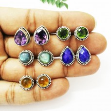 Exclusive 5 PAIRS Gemstone Earrings, Birthstone Earrings, 925 Sterling Silver Earrings, Fashion Handmade Earrings, Weekdays Stud Earrings, Gift Earrings