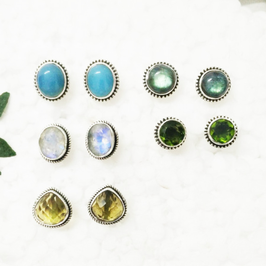02036c9a4 Exclusive 5 PAIRS Gemstone Earrings, Birthstone Earrings, 925 Sterling  Silver Earrings, Fashion Handmade Earrings, Weekdays Stud ...