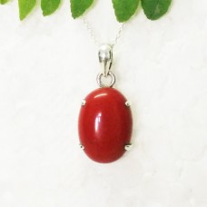 Awesome RED CORAL Gemstone Pendant, Birthstone Pendant, 925 Sterling Silver Pendant, Fashion Handmade Pendant, Free Chain, Gift Pendant