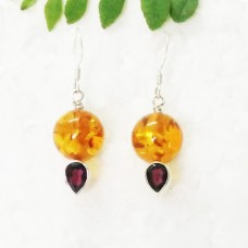 Gorgeous BALTIC AMBER / RED GARNET Gemstone Earrings, Birthstone Earrings, 925 Sterling Silver Earrings, Fashion Handmade Earrings, Dangle Earrings, Gift Earrings