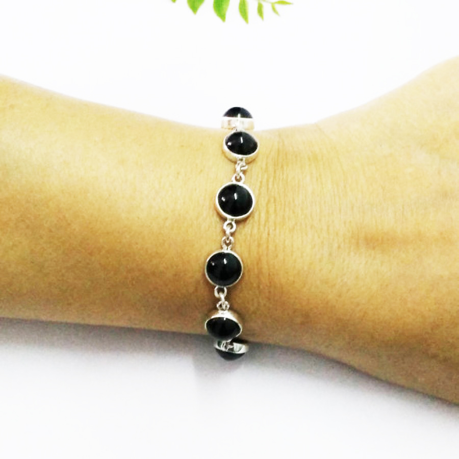 Awesome NATURAL BLACK TOURMALINE Gemstone Bracelet, Birthstone Bracelet, 925 Sterling Silver Bracelet, Fashion Handmade Bracelet, Adjustable Size, Gift Bracelet