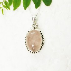Attractive NATURAL ROSE QUARTZ Gemstone Pendant, Birthstone Pendant, 925 Sterling Silver Pendant, Fashion Handmade Pendant, Free Chain, Gift Pendant