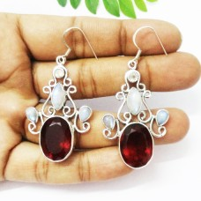 Beautiful RED GARNET / RAINBOW MOONSTONE Gemstone Earrings, Birthstone Earrings, 925 Sterling Silver Earrings, Fashion Handmade Earrings, Dangle Earrings, Gift Earrings
