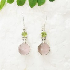 Attractive NATURAL ROSE QUARTZ / PERIDOT Gemstone Earrings, Birthstone Earrings, 925 Sterling Silver Earrings, Fashion Handmade Earrings, Dangle Earrings, Gift Earrings