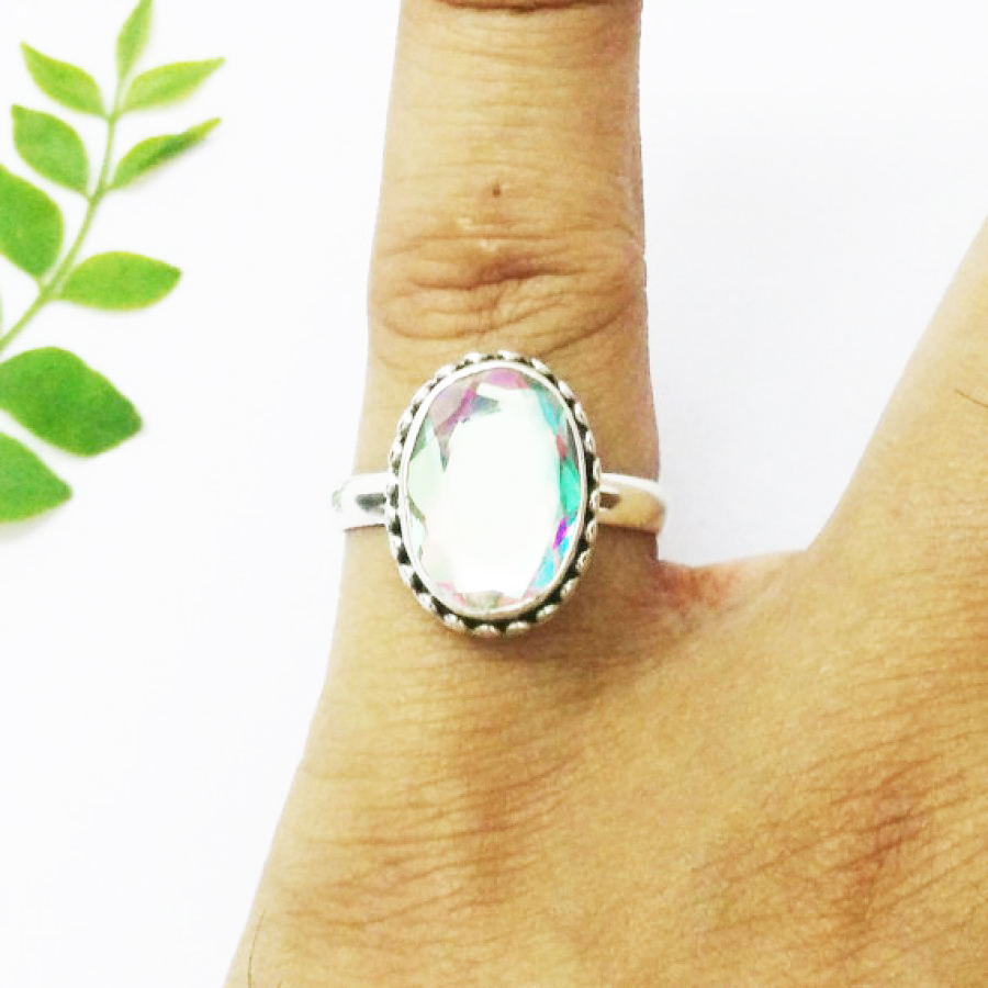 Gorgeous NATURAL RAINBOW MYSTIC Gemstone Ring, Birthstone Ring, 925 Sterling Silver Ring, Fashion Handmade Ring, All Ring Size, Gift Ring