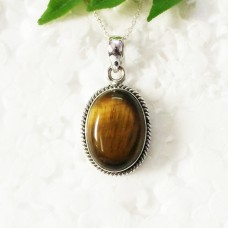 Beautiful NATURAL TIGER EYE Gemstone Pendant, Birthstone Pendant, 925 Sterling Silver Pendant, Fashion Handmade Pendant, Free Chain, Gift Pendant