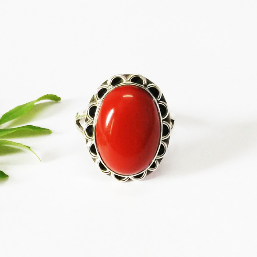 Attractive RED CORAL Gemstone Ring, Birthstone Ring, 925 Sterling Silver Ring, Fashion Handmade Ring, All Ring Size, Gift Ring