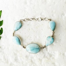 Beautiful NATURAL DOMINICAN LARIMAR Gemstone Bracelet, Birthstone Bracelet, 925 Sterling Silver Bracelet, Fashion Handmade Bracelet, Adjustable Size, Gift Bracelet