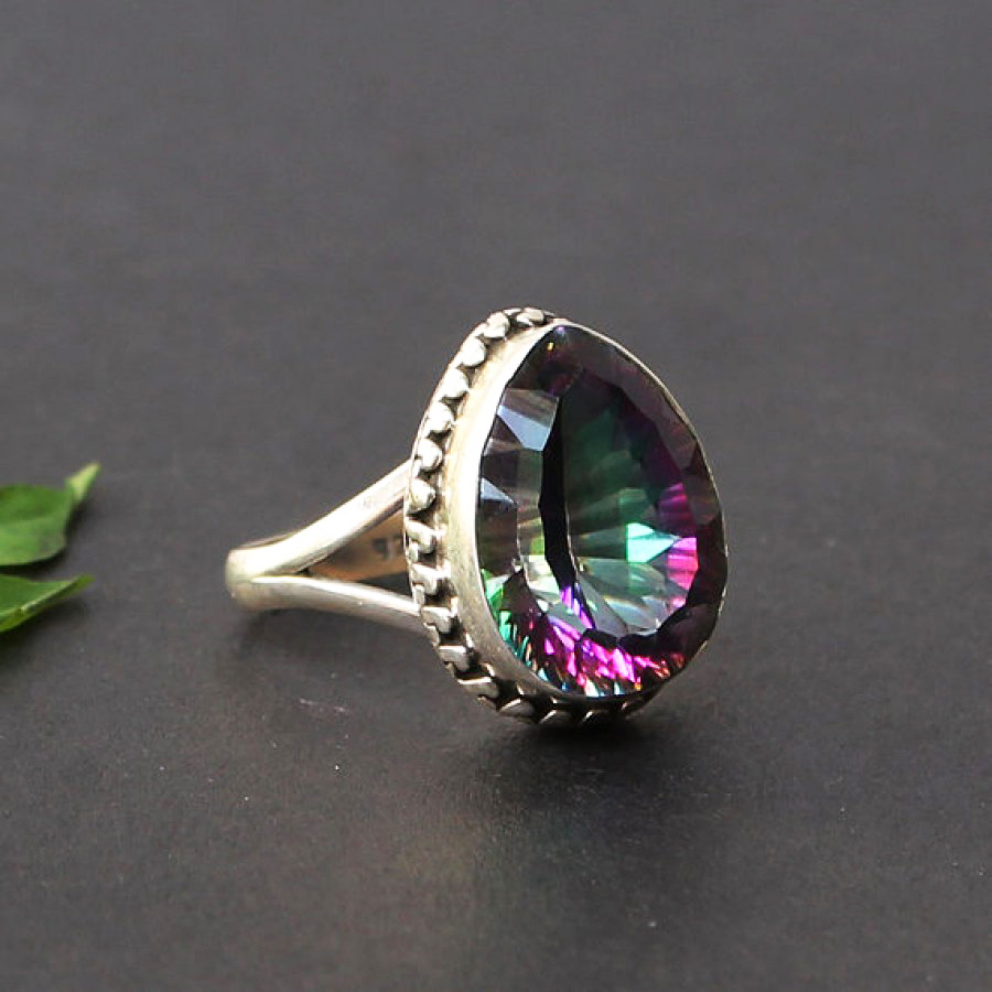 Exotic MIDNIGHT MYSTIC TOPAZ Gemstone Ring, Birthstone Ring, 925 Sterling Silver Ring, Fashion Handmade Ring, All Ring Size, Gift Ring
