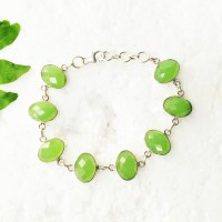 Beautiful GREEN PREHNITE Gemstone Bracelet, Birthstone Bracelet, 925 Sterling Silver Bracelet, Fashion Handmade Bracelet, Adjustable Size, Gift Bracelet