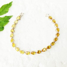 Awesome YELLOW CITRINE Gemstone Bracelet, Birthstone Bracelet, 925 Sterling Silver Bracelet, Fashion Handmade Bracelet, Adjustable Size, Gift Bracelet