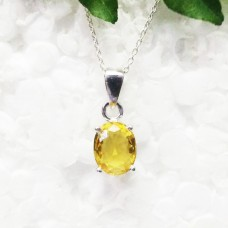 Awesome NATURAL CITRINE Gemstone Pendant, Birthstone Pendant, Fashion Handmade Pendant, 925 Sterling Silver Pendant, Free Chain, Gift Pendant