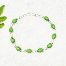Beautiful GREEN TURQUOISE Gemstone Bracelet, Birthstone Bracelet, 925 Sterling Silver Bracelet, Fashion Handmade Bracelet, Adjustable Size, Gift Bracelet