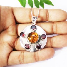 Exclusive AMBER / RED GARNET Gemstone Pendant, Birthstone Pendant, 925 Sterling Silver Pendant, Fashion Handmade Pendant, Free Chain, Gift Pendant