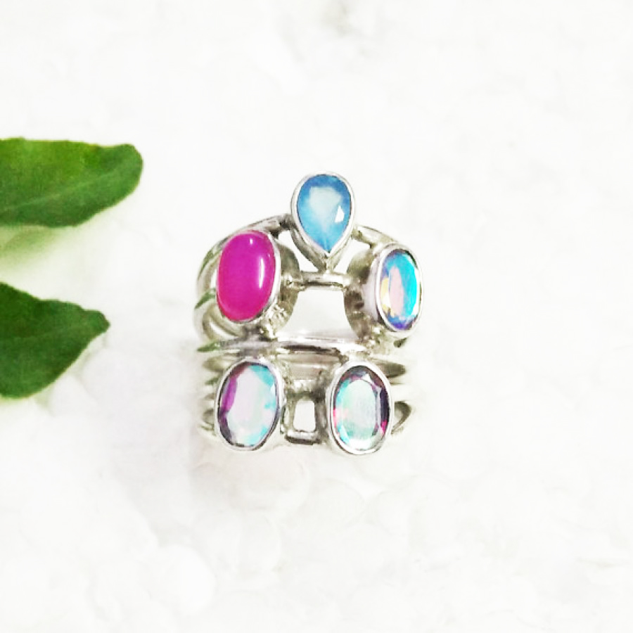 Beautiful MULTI GEMSTONE Ring, Birthstone Ring, 925 Sterling Silver Ring, Fashion Handmade Ring, All Ring Size, Gift Ring