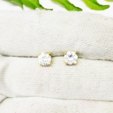 Attractive NATURAL WHITE TOPAZ Gemstone Earrings, Birthstone Earrings, 925 Sterling Silver GOLD Plated Earrings, Handmade Earrings, Stud Earrings, Gift Earrings