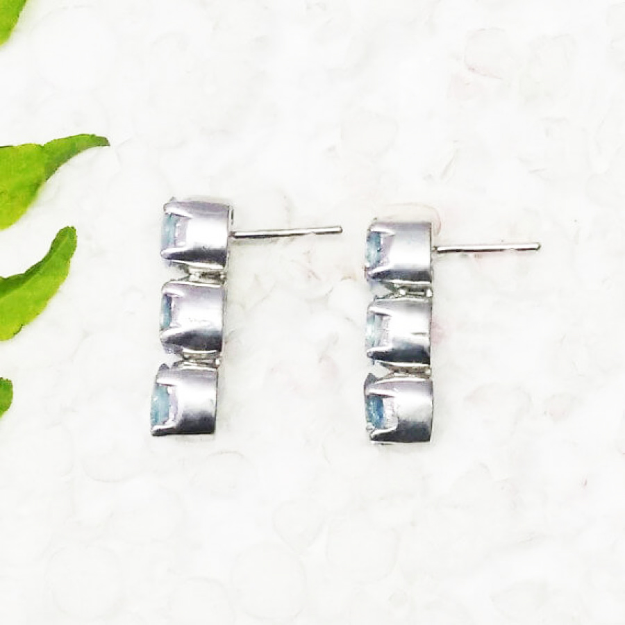 Exotic NATURAL SKY BLUE TOPAZ Gemstone Earrings, Birthstone Earrings, 925 Sterling Silver Earrings, Fashion Handmade Earrings, Drop Earrings, Gift Earrings