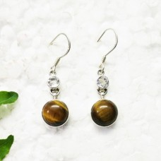 Amazing NATURAL TIGER EYE / WHITE TOPAZ Gemstone Earrings, Birthstone Earrings, 925 Sterling Silver Earrings, Fashion Handmade Earrings, Dangle Earrings, Gift Earrings