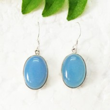 Awesome NATURAL BLUE CHALCEDONY Gemstone Earrings, Birthstone Earrings, 925 Sterling Silver Earrings, Fashion Handmade Earrings, Dangle Earrings, Gift Earrings