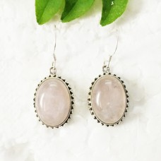 Exotic NATURAL ROSE QUARTZ Gemstone Earrings, Birthstone Earrings, 925 Sterling Silver Earrings, Fashion Handmade Earrings, Dangle Earrings, Gift Earrings