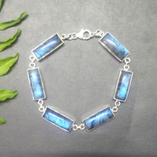 Excellent NATURAL BLUE FIRE LABRADORITE Gemstone Bracelet, Birthstone Bracelet, 925 Sterling Silver Bracelet, Fashion Handmade Bracelet, Adjustable Size, Gift Bracelet